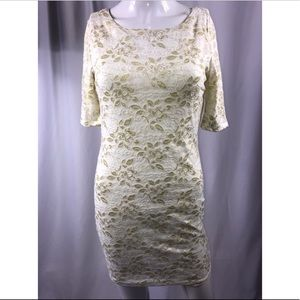 Dresses & Skirts - White and gold lace dress